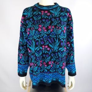 80s Floral Sweater